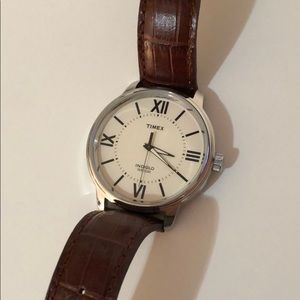 Brown Genuine Leather Times Watch